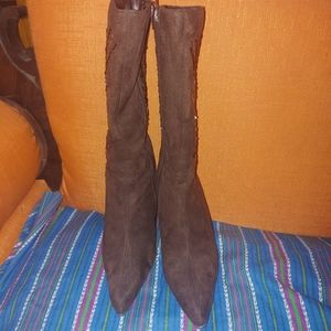 Ladies dress boots all man made materials.